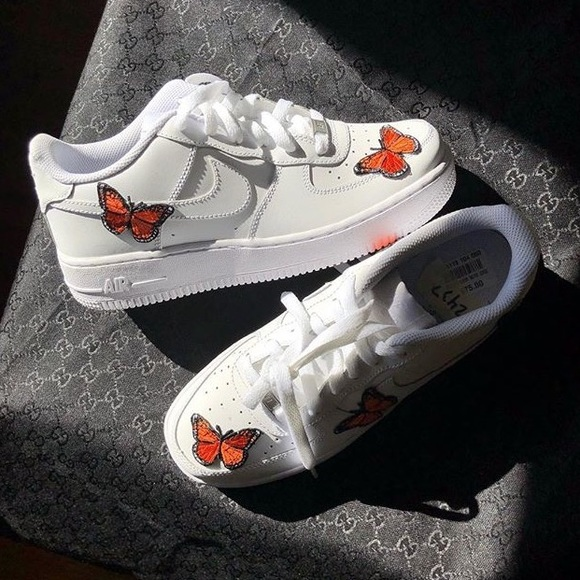 super popular 64bf3 08eb4 Custom Butterfly Embroidered Nike Air Force 1 Low